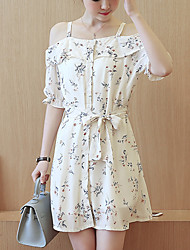 Women's Casual/Daily Simple / Cute Sheath Dress,Floral Strap Above Knee ½ Length Sleeve Blue / White Polyester