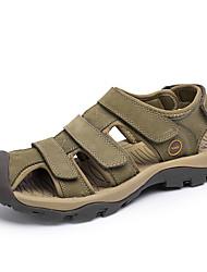 Men's Sandals Summer Open Toe / Sandals Leather Casual Flat Heel Others Brown / Green / Khaki Walking