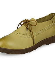 Women's Flats Spring / Summer / Fall Flats Cowhide Casual Flat Heel Stitching Lace Yellow / Camel