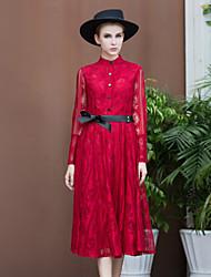 Mujer Encaje Vestido Noche Vintage,Un Color Escote Chino Hasta la Rodilla Manga Larga Rojo / Negro Algodón / Poliéster PrimaveraTiro