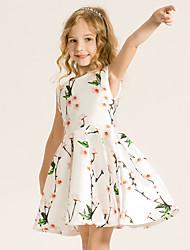 Menina de Vestido,Casual Floral Algodão Verão Branco