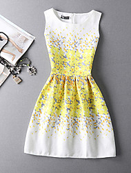 Women's Going out Simple A Line Dress,Print Round Neck Above Knee Sleeveless Yellow Cotton Summer