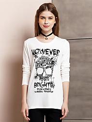 Tee-shirt Aux femmes,Imprimé Sortie simple Eté Manches Longues Col Arrondi Blanc / Noir Coton / Polyester Fin