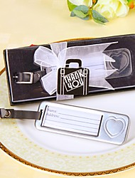 "Chrome ""Bon Voyage"" Silver-Finish Heart Travel Tag, Luggage Tag, Place Card Holder Wedding Favors"