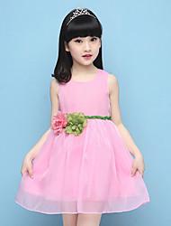 Performance Dresses Children's Performance Cotton Flower(s) 1 Piece Performance Sleeveless Natural Dress