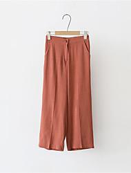 Women's Solid Brown Wide Leg Pants,Simple
