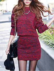 Street chic Sweater Dress,Solid Round Neck Mini Long Sleeve Red / Gray Acrylic Fall Mid Rise Micro-elastic