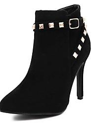 Women's Boots Fall Winter Fleece Office & Career Casual Stiletto Heel Rivet Black Gray Other