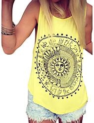 Mulheres Malha Íntima Casual Moda de Rua Verão,Estampado Preto / Amarelo Algodão Decote U Sem Manga Fina