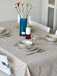 Floral  Rectanglar Red Cherry Tablecloth Marguerite Decorative Cotton Linen Macrame Table Cover  Kitchen Dinning Room