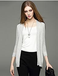 Mara Carol® Women's V Neck 3/4 Length Sleeve Sweater & Cardigan White / Light Gray-1520130