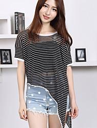 Damen Kurz Pullover-Lässig/Alltäglich Einfach Gestreift Weiß / Schwarz Rundhalsausschnitt Kurzarm Polyester Sommer Dünn