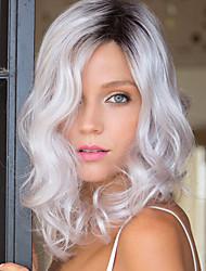 Short Bob Natural Wave Sliver Grey Synthetic Wig Heat Resistant Fiber for Fashion Women