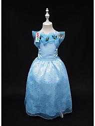 Robe Fille de Couleur Pleine Soirée / Cocktail Polyester Eté Bleu