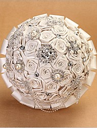 Fleurs de mariage Rond Roses Bouquets Mariage Satin Env.26cm