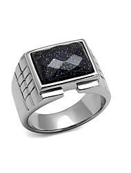 Wholesale Men Square Blue Sand Montana Stainless Steel Ring High polished (No plating) Men's rings collection