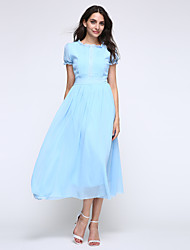 Women's Sexy Cute Micro Elastic Short Sleeve Midi Dress (Chiffon)