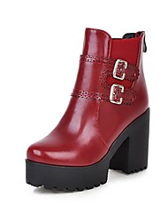 Women's Boots Fall / Winter Bootie / Round Toe PU Office & Career / Casual Chunky Heel Buckle Black / Red Others