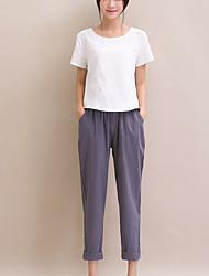 Mulheres Calças Simples Chinos Algodão / Linho Sem Elasticidade Mulheres