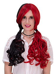 Black and red long hair wig.WIG LOLITA, Halloween Wig, color wig, fashion wig, natural wig, COSPLAY wig.