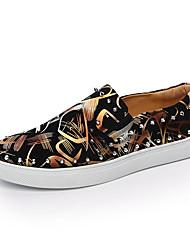 Men's Fashion Trend Cashmere Upper Slip-on Skateboarding Shoes Flats with Rivets for Trip/Hip-hop