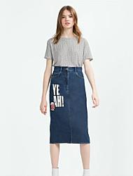 Women's Denim Skirts,Casual/Daily Street chic Midi Polyester Micro-elastic Spring