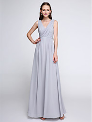 2017 Lanting Bride® Ankle-length Chiffon Color Block Bridesmaid Dress - Sheath / Column V-neck with Criss Cross