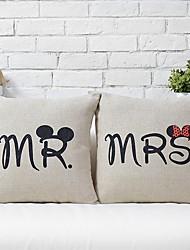 1 PC Linen Pillow Case 16 by 16 inch Mr.&Mrs.