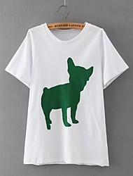 Damen Druck Einfach / Street Schick Lässig/Alltäglich T-shirt,Rundhalsausschnitt Sommer Kurzarm Weiß Baumwolle / Leinen Dünn