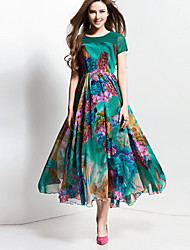 BORME® Women's Round Neck Short Sleeve Bohemia Floral Print Maxi Dress-Z116GR