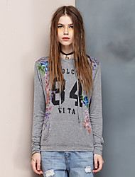 Women's Going out Simple Regular Hoodies,Floral Gray Hooded Long Sleeve Rayon / Spandex Spring / Fall Thin