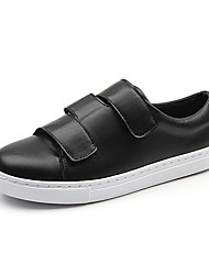 Women's Shoes Leather /  Fall Comfort / Closed Toe / Flats Flats Casual Flat Heel Magic Tape Black / White