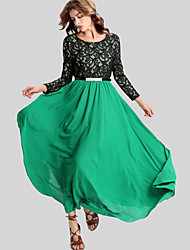Women's Casual/Daily Simple Swing Dress,Embroidered Round Neck Maxi Long Sleeve Green Polyester Fall / Winter