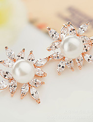 Stud Earrings Crystal Pearl Zircon Cubic Zirconia Copper Fashion Flower White Jewelry Daily Casual 1 pair