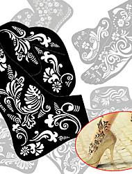2pcs neues Tattoo Fuß Tattoo Schablone Henna Tattoo Paste Vorlage Handmalerei Kunst für den linken und rechten Fuß