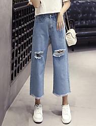 Women's Solid Blue Jeans / Wide Leg Pants,Simple