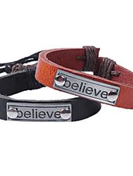 Fashion Punk Vintage Believe Words Leather Bracelet Men Charm Bracelet Jewelry pulseira masculina