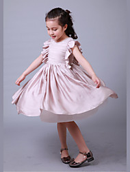 Ball Gown Tea-length Flower Girl Dress - Satin / Tulle / Satin Chiffon Sleeveless Jewel with Draping