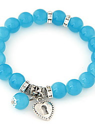 Femme Bracelets de rive Alliage Mode Forme de Coeur Amour Rouge Bleu Rose Bleu marine Bleu clair Bijoux 1pc
