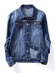 Men's Korean Slim Stretch Bleached Denim Jacket,Cotton / Polyester Solid Blue