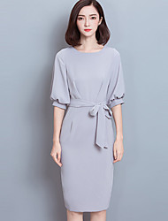 Women's Going out Simple Sheath Dress,Solid Round Neck Knee-length ½ Length Sleeve Gray / Green Polyester Spring / Fall