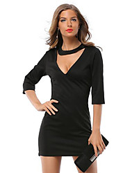 Women's Casual/Daily Simple Hin Thin Over Hip Sheath Dress,Solid V Neck Mini ¾ Sleeve Black