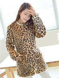 Women's Plus Size / Casual/Daily / Party/Cocktail Simple Fur Coat,Leopard Round Neck Long Sleeve Fall /