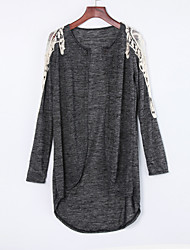 Women's Lace Patchwork Gray Wrap,Cowl Long Sleeve