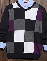 Men's Plaid Casual Pullover,Cotton Long Sleeve Black / Purple / Gray