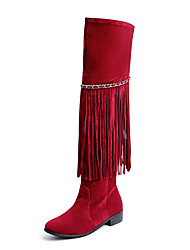 Women's Shoes  Winter Riding Boots / Round Toe Boots Dress Low Heel Slip-on / Tassel Black / Brown / Red