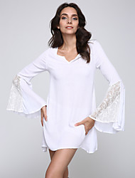 Women's Going out Vintage / Simple Sheath Dress,Solid V Neck Above Knee Long Sleeve White / Beige Others Summer