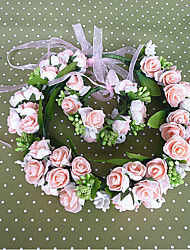 Flower Girl's Resin Headpiece-Wedding / Casual Wreaths 2 Pieces Pink / White Flower 43cm