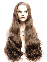 "Synthetic Lace Front Wig 32"" Natural Wave Heat Resistant Synthetic Lace Front Wig Brown Synthetic Hair Wigs"