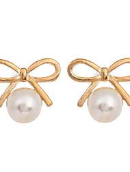 Korean Fashion Jewelry Gold Plated Bowknot Earrings Round Pearl Stud Earrings for Women Jewelry